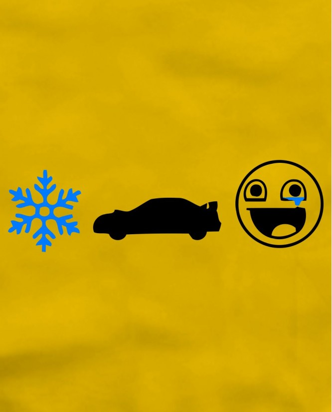 Snow car smile
