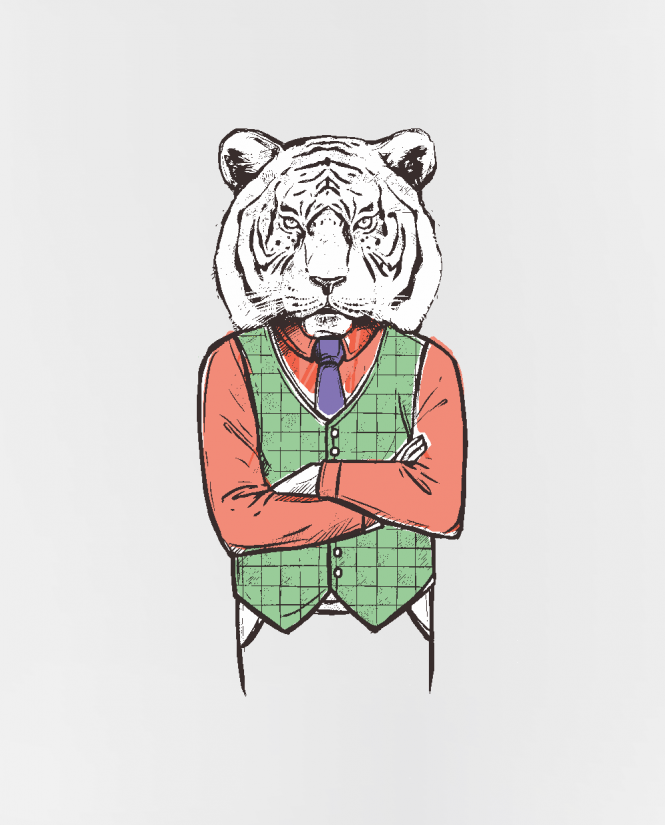 puodelis Hipster tiger